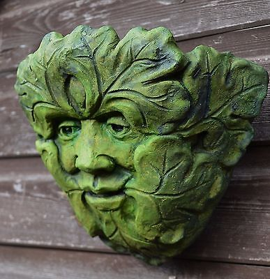"Green Man small Garden Wall Planter ""May King"" frost proof stone 25x29cm"