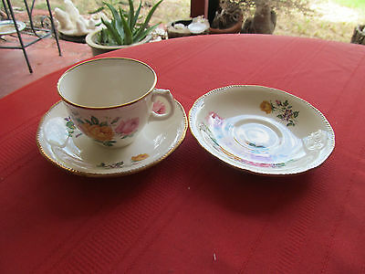 RIDGWAY CHATEAU ROSE pink yellow 1 CUP & 2 SAUCERS  STAFFORDSHIRE
