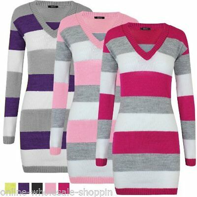New Womens V Neck Striped Jumper Knitted Tunic Ladies DRESS Top Size 8 10 12 14