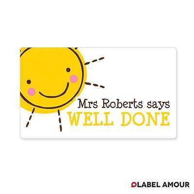 65 PERSONALISED STICKERS Teacher Reward Labels Stickers | Sunny Day