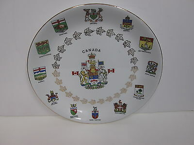 ALFRED MEAKIN ENGLAND CANADIAN COAT OF ARMS COLLECTOR PLATE- GLO-WHITE IRONSTONE