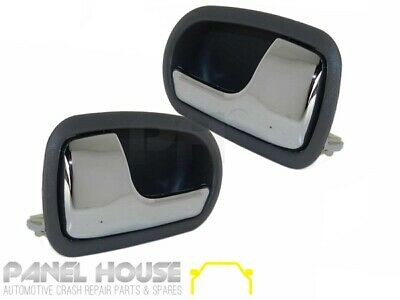 Mazda 323 BJ Astina 98-03 PAIR L+R FRONT Interior Chrome Grey Door Handle Inner