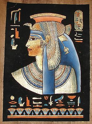 Egyptian Hand-painted Dark Papyrus Bust of Queen Nefertari with Black Background