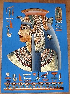 Egyptian Hand-painted Dark Papyrus: Bust of Queen Nefertari with Blue Background