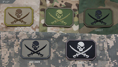 Mil-Spec Monkey Velcro Morale Patch Pirate Skull Flag PVC