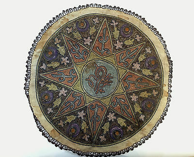 1880's ultra Antique Embroidery Ottoman Tughra Metallic Thread Turkish Tinsel