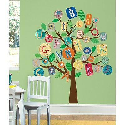 New Giant ALPHABET TREE WALL DECALS MURAL ABC Trees Baby Nursery Stickers Decor