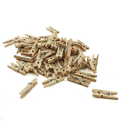 "200 Natural Wood Wooden Mini 1"" inch Spring Clothespins Clothes Pins Crafts Toys"
