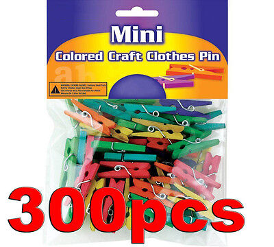 "300 Colored Wood Wooden Mini 1"" inch Spring Clothespins Clothes Pins Crafts Toys"