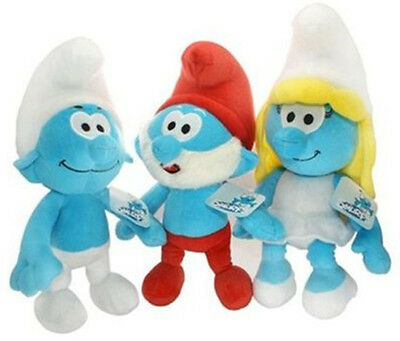 3X The Smurfs 3D animal Plush Toy Stuffed Doll Smurf Papa Smurfette BOY 1 SET