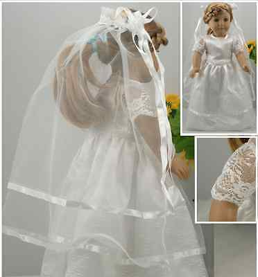"""AMERICAN GIRL DOLL CLOTHES WEDDING DRESS & VEIL to fit 18"""" AMERICAN GIRL DOLL"""