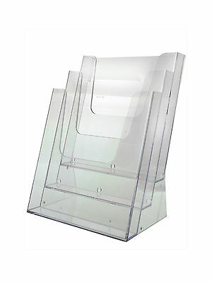 Acrylic Magazine-Literature-Brochure Holder 3 Pocket Counter Display