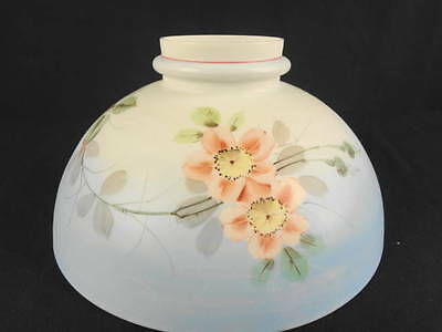 "1880'S MT WASHINGTON WILD ROSE FLORAL DECORATED 12"" KEROSENE DOME SHADE"