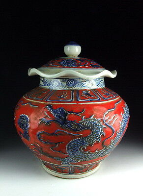 Chinese Antique Red and Blue Porcelain Lidded Jar with Dragon