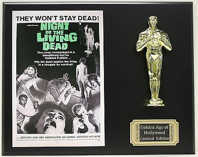 NIGHT OF THE LIVING DEAD, GEORGE ROMERO OSCAR MOVIE DISPLAY FREE U.S. SHIPPING