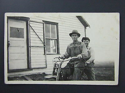 Men Riding Early Harley Davidson Motorcycle Real Photo Postcard RPPC c1904-18