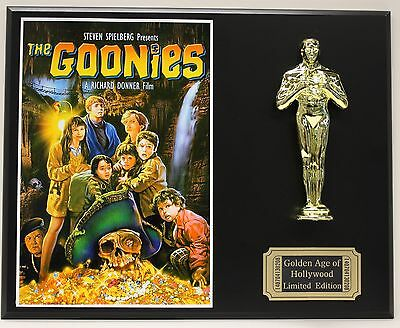 THE GOONIES, A STEVEN SPIELBERG FILM  OSCAR MOVIE DISPLAY FREE U.S. SHIPPING