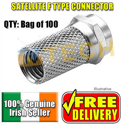 F Connector 100 Pack  RG6 Free TV connection Sky Freesat, Free Delivery