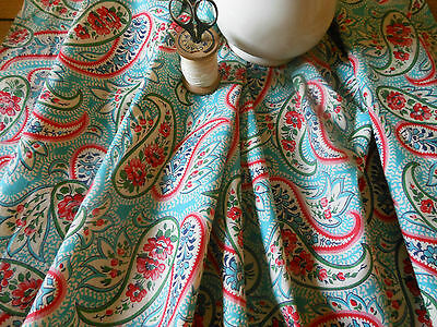 Antique Shabby Paisley Roses Floral fabric~Turquoise Aqua Blue Pink Red~ 1940's