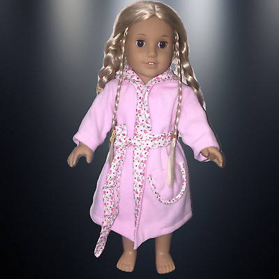 """AMERICAN GIRL DOLL CLOTHES DRESSING GOWN PINK to fit 18"""" AMERICAN GIRL DOLL"""
