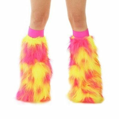 TrYptiX Maia Fluffy Furry Rave Boot Cover Leg Warmers with Hot Pink Kneeband EDC