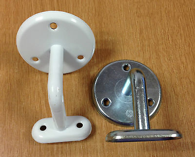Handrail Brackets for Stairs Banisters Staircase Mounting - Zinc or White Metal