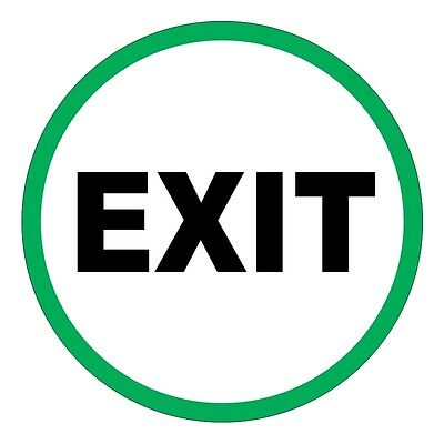 EXIT - Round Door Decal / Sticker / Labels Entry Safety Label Caution Glass