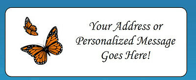 60 Personalized Monarch Butterflies Return Address Labels