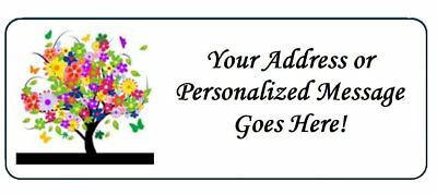 60 Personalized Colorful Tree with Flowers Return Address Labels