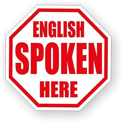 English Spoken Here Hard Hat Decal / Funny Helmet Label / Sticker USA Made