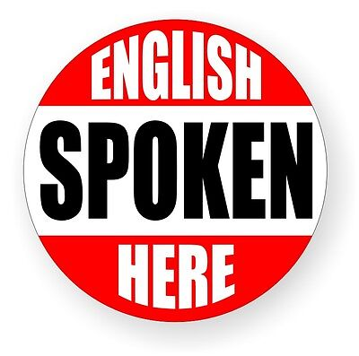 English Spoken Here Hard Hat Decal / Label / Sticker Construction Laborer Worker
