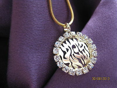 Shema Israel Gold Crystal Pendant&chain Judaica Evil Eye Protection Prayer New