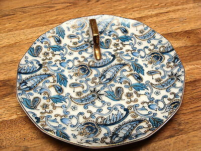 "LEFTON PORCELAIN PAISLEY 6 1/4"" PLATE WITH HANDLE IN GOLD"