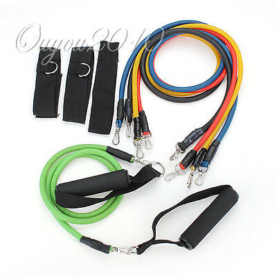 11pcs Latex Resistance Bands Tube GYM Exercise Set for Yoga ABS Workout Fitness