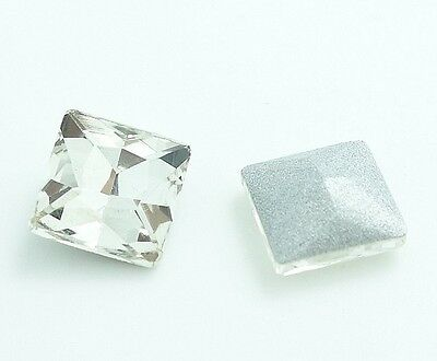 clear square Facet Crystal rhinestones Silver Bottom beads 8,10,12MM choose