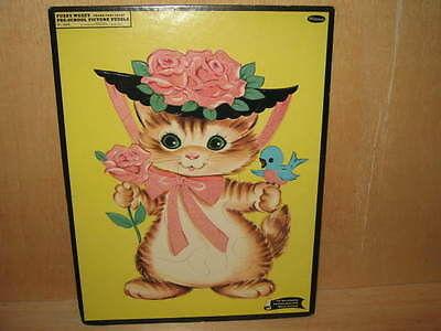 1960 Fuzzy Wuzzy Frame Tray Picture Puzzle # 4422  Cat & Bird Whitman Publishing