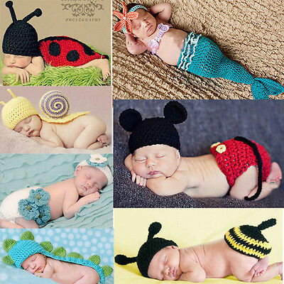 Baby Girl Boy Newborn 9M Knit Crochet Handmade Clothes Photo Prop Outfits t