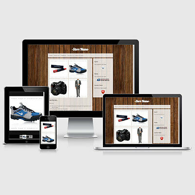 Responsive eBay Listing Auction HTML Template Brown Wood Theme Mobile Friendly