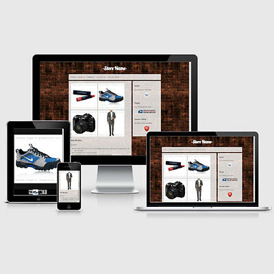 Responsive eBay Listing Auction HTML Template Brick Wall Theme Mobile Friendly