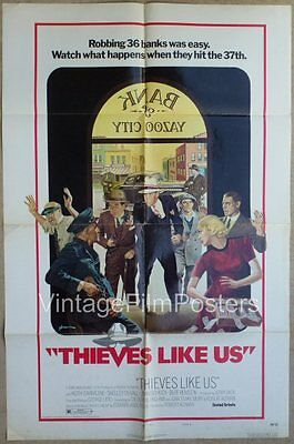 THIEVES LIKE US, original 1974 1-sheet ROBT ALTMAN bank robbery, Keith CARRADINE