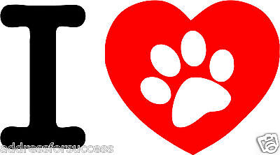 60 Personalized I Love My Dog Heart Paw Print Return Address Labels Favors