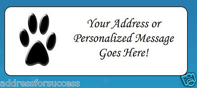 60 Personalized Paw Print Return Address Labels