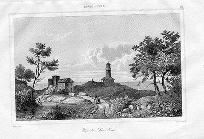 1840 - Eriesee Lac Erie Nordamerika America engraving Original Stahlstich