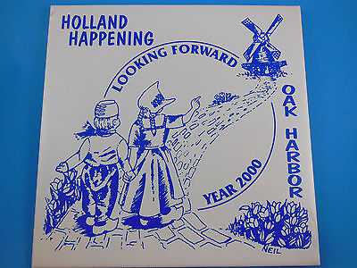 "Holland Happening 6"" tile Oak Harbor blue and white art by NEIL year Royal Moss"