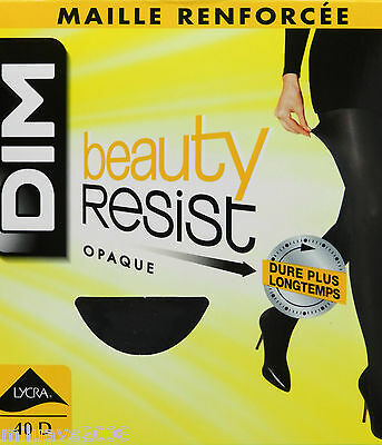 2 Pares medias panty panthyhose collant DIM beauty resist opac 40D
