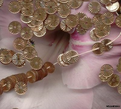 VINTAGE FRENCH SEQUINS Gold pink Copper RUFFLE Indent Metallic Paillette lot 6mm