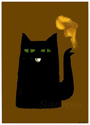 Vintage Black Cat Kettle Advertising A4 Poster Print