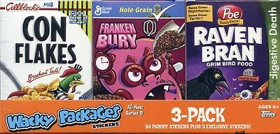WACKY PACKAGES STICKERS Series Nine 3-Pack Cereal Collection 2012 Topps