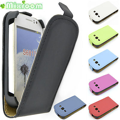 FLIP COVER CASE CUSTODIA IN ECOPELLE PER SAMSUNG GALAXY FAME S6810 + PELLICOLA