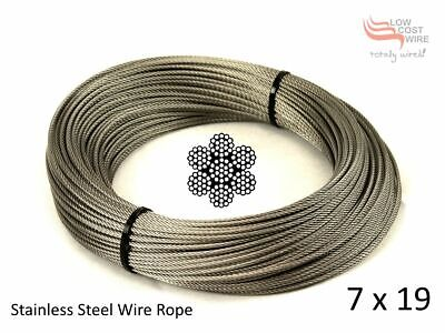 "10M Wire Rope Stainless Steel 3.2mm 7x19  316 Marine 1/8"" for Ballustrade"